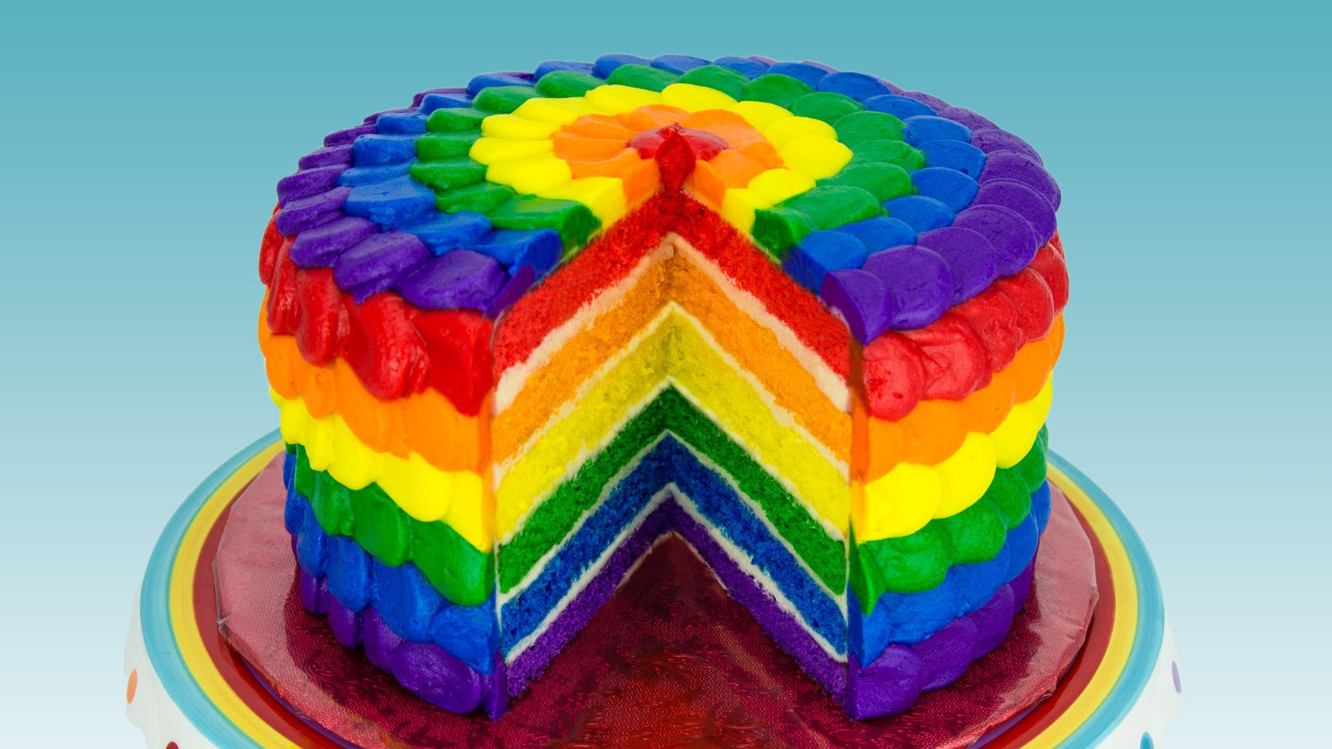 The Easiest Way to Make a Rainbow Cake