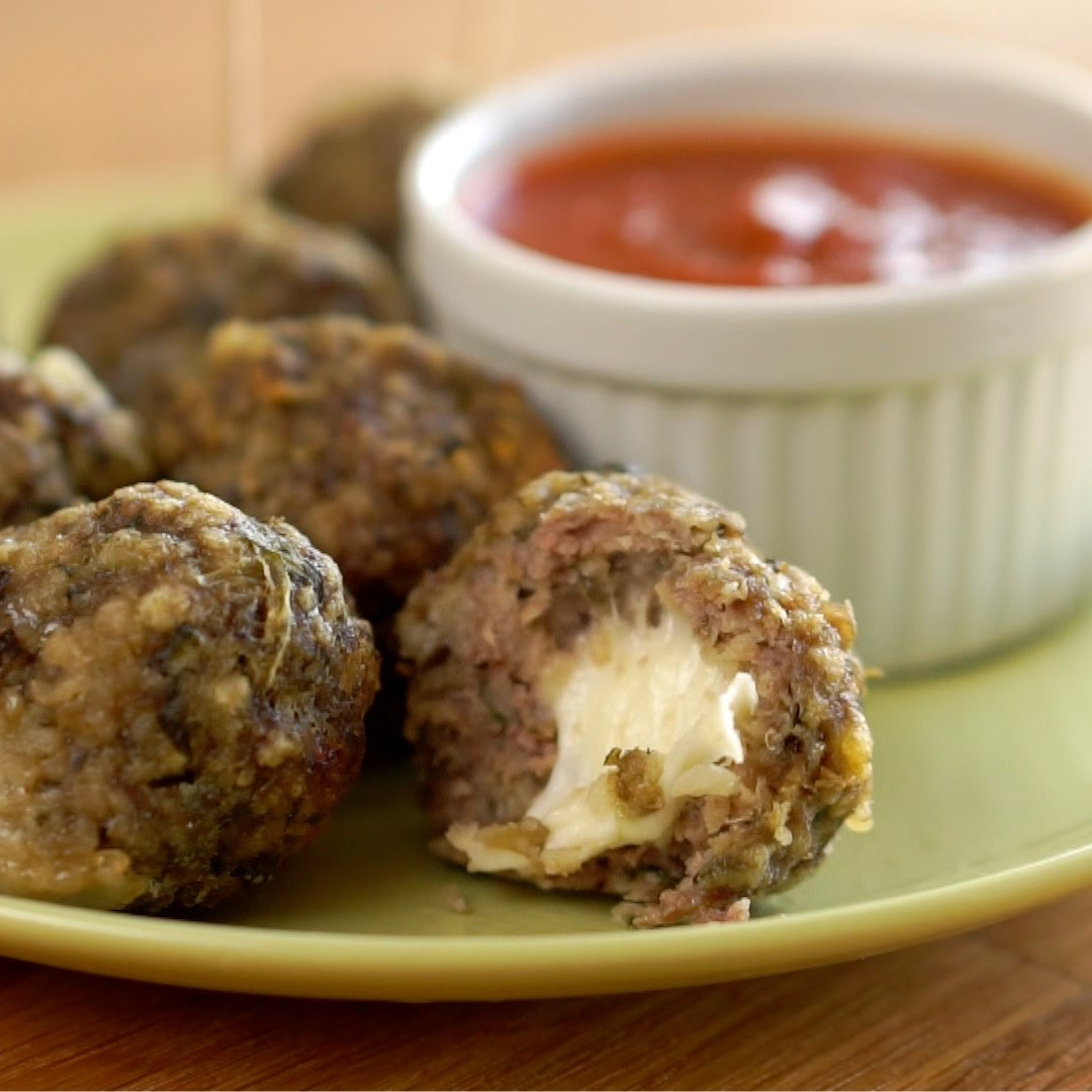 These Slow Cooker Stuffed Mozzarella Meatballs Are Ridiculous