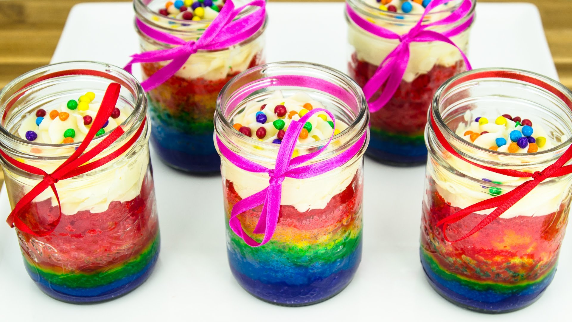 She Pours Rainbow Cake Batter In A Mason Jar… The Result Is Gorgeous
