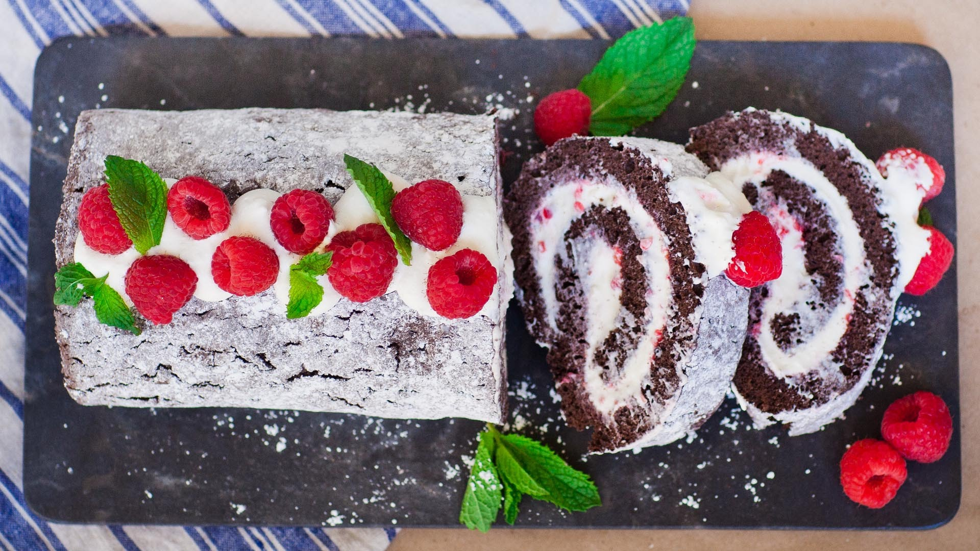 She Transforms A Chocolate Sponge Cake Into A Divine Chocolate Raspberry Swiss Roll