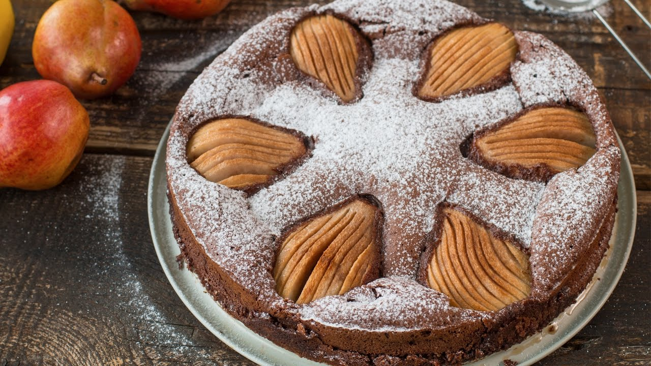 Chocolate, Almonds, and Pears All In One Cake